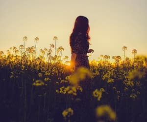 girl, poetic, and sunset image
