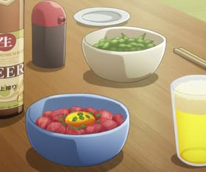 anime, drink, and edamame image