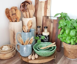 kitchen, plant, and wood image