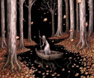 alone, girl, and woods image