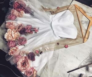 dress, flower, and white image