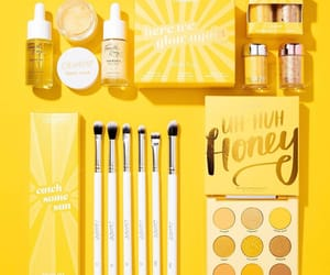 Brushes, make up, and yellow image