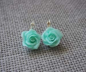 blue, handmade, and roseearrings image