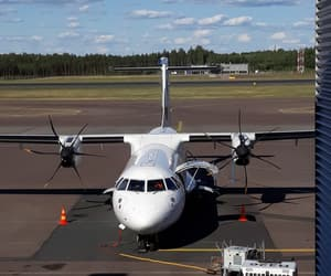 airplane, finland, and finnair image