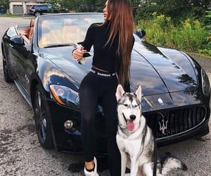 girls, car, and dog image