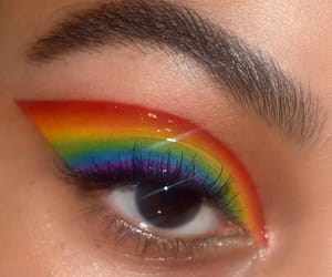makeup, rainbow, and eyes image
