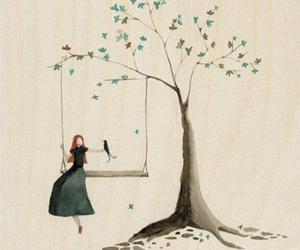 bird, girl, and tree image