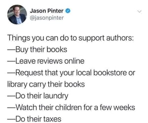 author, fan, and books image