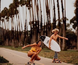 board, girl, and skateboarding image