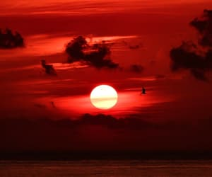 red, sky, and sunrise image