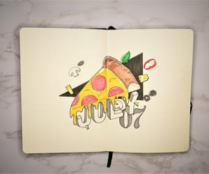 july, pizza, and bullet journal image