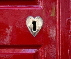 red, heart, and door image