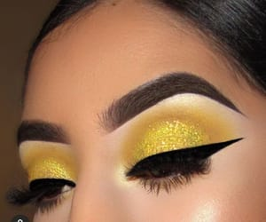 glitter, makeup, and yellow image
