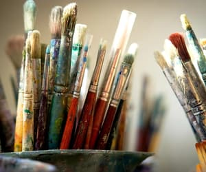 art, paint, and paint brushes image