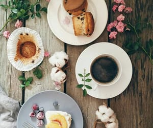 cake, flowers, and coffee image