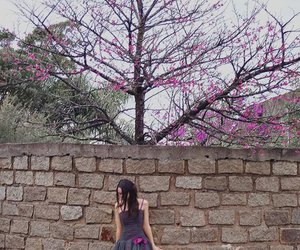 girl, tree, and poem image