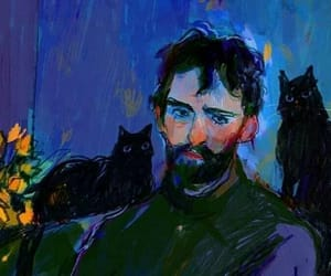art, blue, and cats image