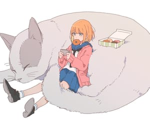 anime, anime girl, and cat image