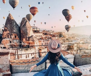 air balloon, city, and goals image
