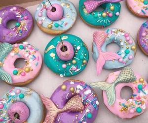 donuts, mermaid, and ocean image
