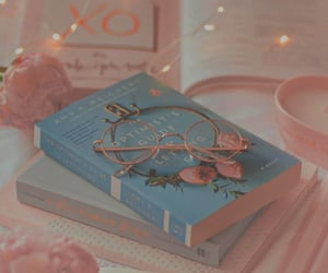 books, glasses, and pink image
