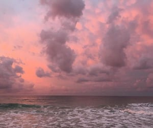 sky, ocean, and pink image