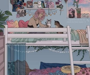 girl, cat, and art image