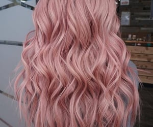 blonde, light pink, and curled image