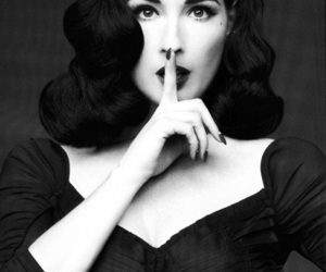 Dita von Teese, black and white, and sexy image