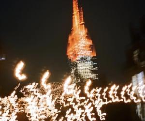 blurry, city, and night image