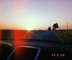 roadtrip, sun, and sunset image