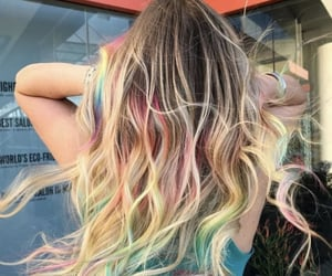 aesthetic, hair, and rainbow image
