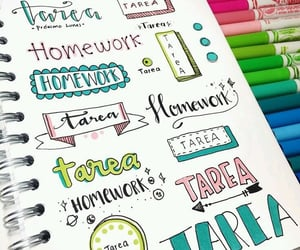 homework, lettering, and school image