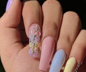 flowers, nails, and rainbow nails image
