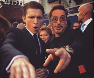 tom holland, spiderman, and robert downey jr image