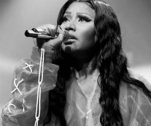 black & white, mic, and singing image