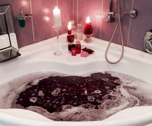 bath, candles, and bathtub image