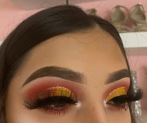 eye, flame, and lashes image