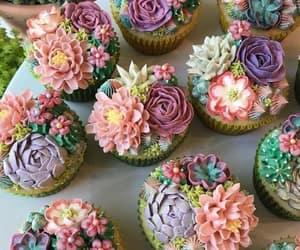 cupcake, cake, and flowers image