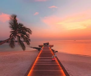 beach, Maldives, and sunset image