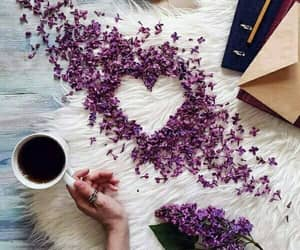 coffee, heart, and flowers image
