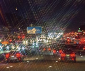 cars, highway, and moon image