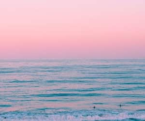 beach, blue, and pink image