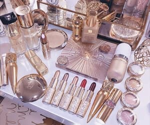 makeup, gold, and lipstick image