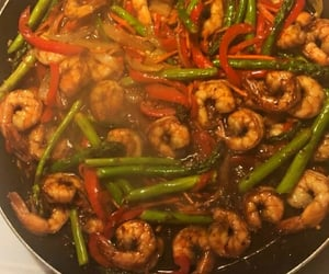 dinner, shrimp, and veggies image