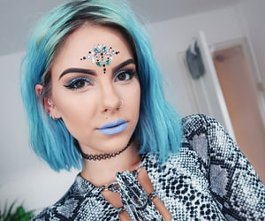 festival make up and blue hair image