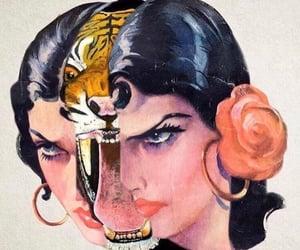 art, woman, and tiger image