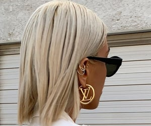 hair, earrings, and Louis Vuitton image