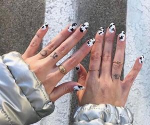 nails, nail art, and cow print image