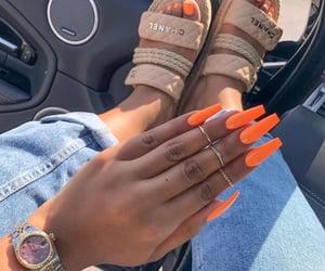nails, orange, and chanel image